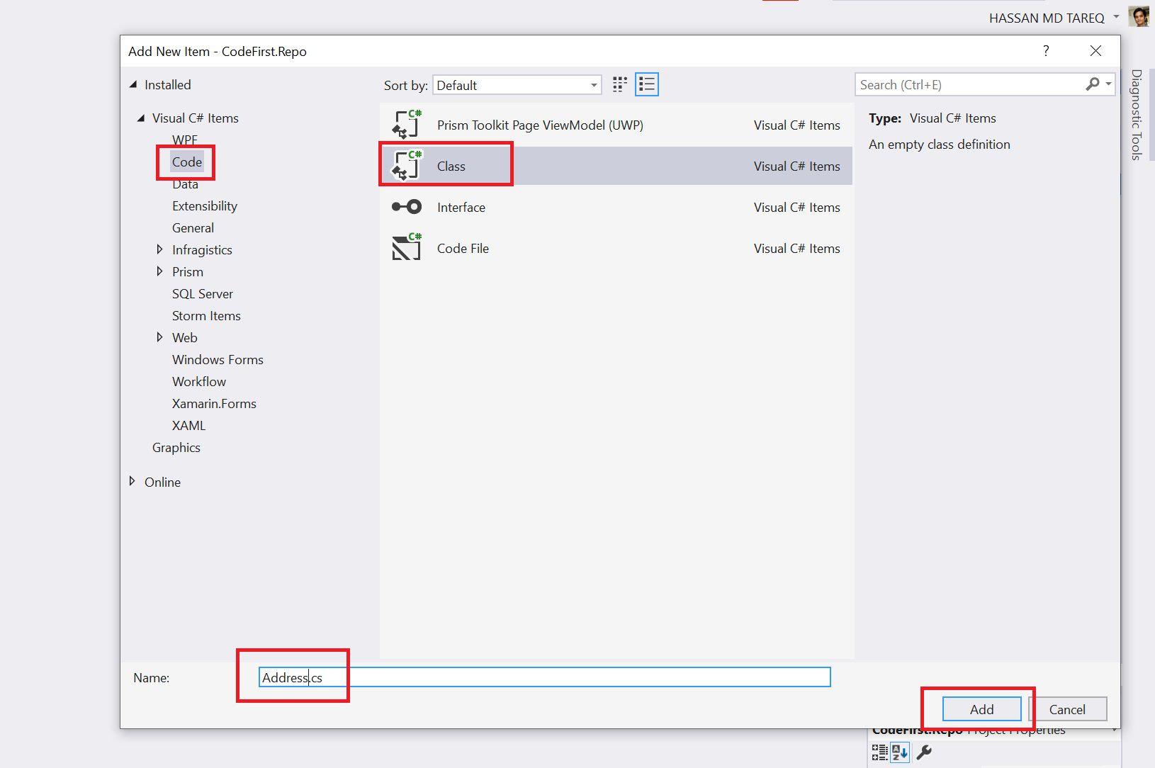 Entity Framework Code Fisrt Approach - Creating edmx from DbContext Step 6